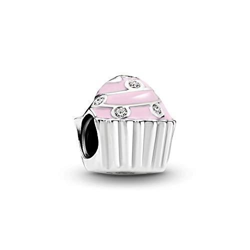 パンドラ ブレスレット アクセサリー ブランド かわいい PANDORA Sweet Cupcake Charm, Sterling Silver, Light Pink Enamel & Clear Cubic Zirconia, One Sizeパンドラ ブレスレット アクセサリー ブランド かわいい