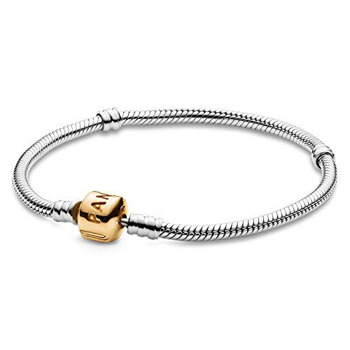 【正規取扱店】 パンドラ Sterling ブレスレット アクセサリー ブランド かわいい【送料無料】PANDORA Jewelry Gold Moments ブレスレット Snake Chain Charm Sterling Silver and 14K Yellow Gold Bracelet, 7.1