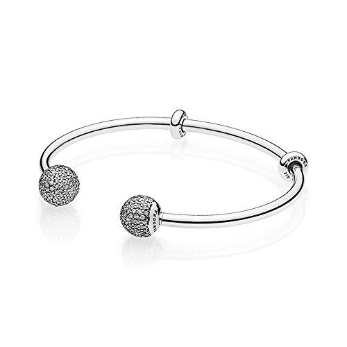 パンドラ ブレスレット アクセサリー ブランド かわいい Pandora Open Bangle Bracelet, Clear CZ 596438CZ-2, 17.5 Centimeter 6.9 Inchパンドラ ブレスレット アクセサリー ブランド かわいい