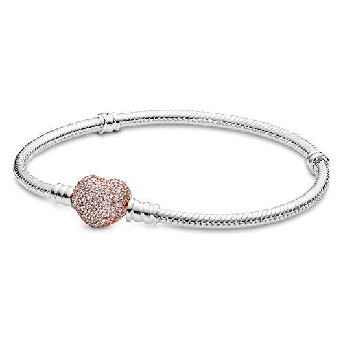 パンドラ ブレスレット アクセサリー ブランド かわいい PANDORA Sterling Silver Bracelet Rose Pav? Heart Clasp, Cubic Zirconia, 8.3 inパンドラ ブレスレット アクセサリー ブランド かわいい
