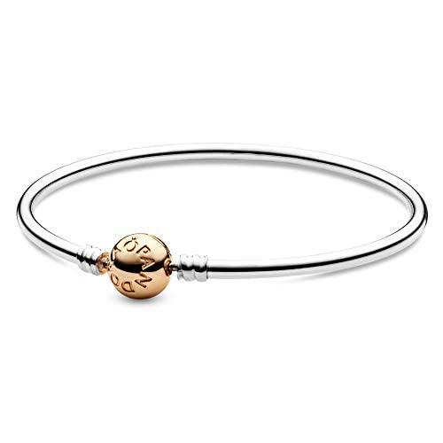 パンドラ ブレスレット アクセサリー ブランド かわいい PANDORA Silver Bangle Charm Bracelet with 14K Gold Clasp, Sterling Silver, 8.3 INパンドラ ブレスレット アクセサリー ブランド かわいい
