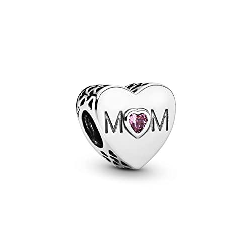 パンドラ ブレスレット アクセサリー ブランド かわいい PANDORA Mother Heart Charm, Sterling Silver, Pink Cubic Zirconia, One Sizeパンドラ ブレスレット アクセサリー ブランド かわいい