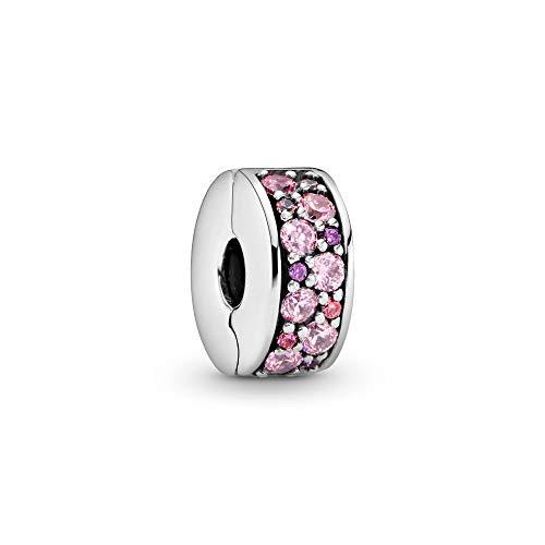 パンドラ ブレスレット アクセサリー ブランド かわいい PANDORA Mosaic Shining Elegance Clip Charm, Sterling Silver, Fancy Pink & Fancy Purple Cubic Zirconia, One Sizeパンドラ ブレスレット アクセサリー ブランド かわいい