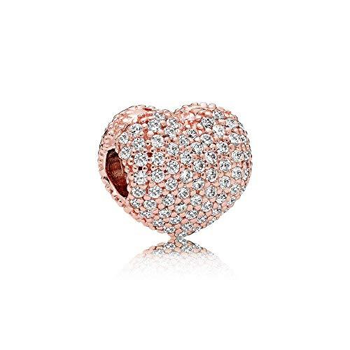 パンドラ ブレスレット アクセサリー ブランド かわいい Pandora Pave Open My Heart Rose & Silver Clip Charm 781427CZパンドラ ブレスレット アクセサリー ブランド かわいい