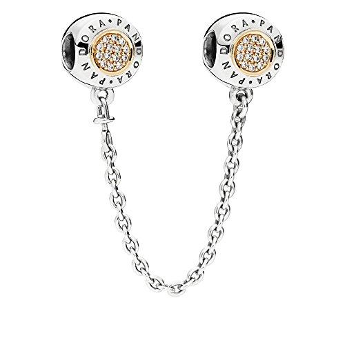 パンドラ ブレスレット アクセサリー ブランド かわいい Pandora Signature Cubic Zirconia Moments Safety Chain Charm - 796269CZ-05 - Two Tone - Sterling silver 925 and 14k gold 585パンドラ ブレスレット アクセサリー ブランド かわいい