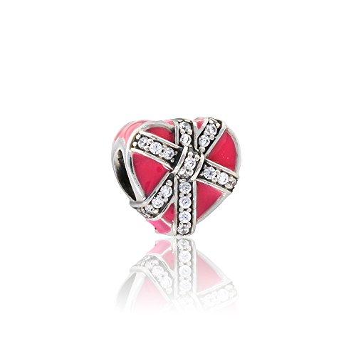 パンドラ ブレスレット アクセサリー ブランド かわいい 【送料無料】Pandora Women's Magenta Present of Love Charm - 792047CZパンドラ ブレスレット アクセサリー ブランド かわいい