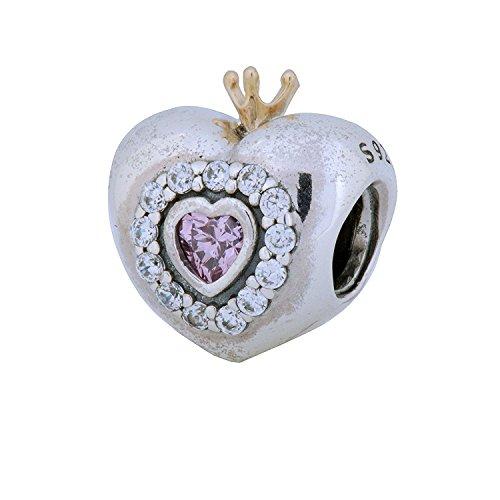パンドラ ブレスレット アクセサリー ブランド かわいい Pandora Princess Charm in Two-Tone w/Pink Cubic Zirconia, 791375PCZパンドラ ブレスレット アクセサリー ブランド かわいい