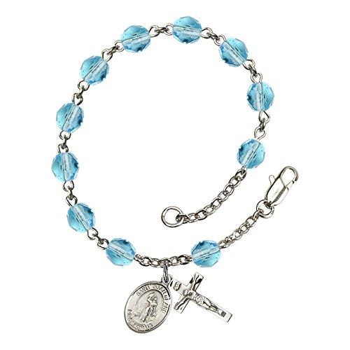Bonyak Jewelry ブレスレット ジュエリー アメリカ アクセサリー 【送料無料】Bonyak Jewelry St. Joan of Arc Silver Plate Rosary Bracelet 6mm March Light Blue Fire Polished Beads Crucifix Bonyak Jewelry ブレスレット ジュエリー アメリカ アクセサリー