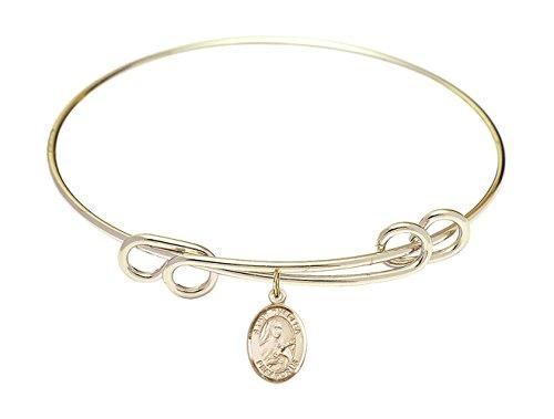 Bonyak Jewelry ブレスレット ジュエリー アメリカ アクセサリー 8 1/2 inch Round Double Loop Bangle Bracelet w/St. Theresa in Gold-FilledBonyak Jewelry ブレスレット ジュエリー アメリカ アクセサリー