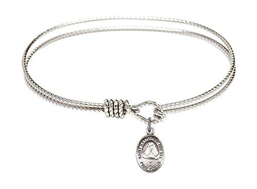 Bonyak Jewelry ブレスレット ジュエリー アメリカ アクセサリー 【送料無料】7 1/4 inch Oval Eye Hook Bangle Bracelet w/St. Katharine Drexel in Sterling SilverBonyak Jewelry ブレスレット ジュエリー アメリカ アクセサリー