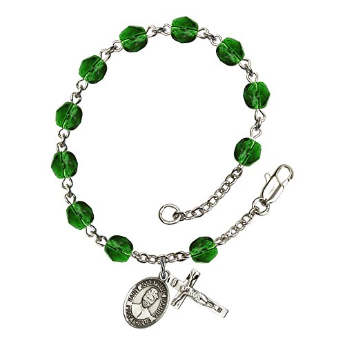 Bonyak Jewelry ブレスレット ジュエリー アメリカ アクセサリー Bonyak Jewelry St. Josephine Bakhita Silver Plate Rosary Bracelet 6mm May Green Fire Polished Beads Crucifix Size 5/8 x 1/4 MedaBonyak Jewelry ブレスレット ジュエリー アメリカ アクセサリー