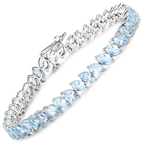 Bonyak Jewelry ブレスレット ジュエリー アメリカ アクセサリー Bonyak Jewelry Genuine Oval Blue Topaz Bracelet in Sterling SilverBonyak Jewelry ブレスレット ジュエリー アメリカ アクセサリー