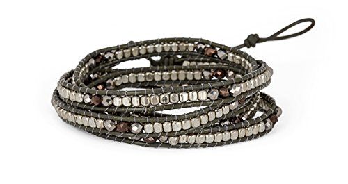 SPUNKYsoul ブレスレット アクセサリー ブランド かわいい SPUNKYsoul Handmade Leather Grey Boho 4 Wrap Bracelet Silver and Faceted Beads for Women CollectionSPUNKYsoul ブレスレット アクセサリー ブランド かわいい