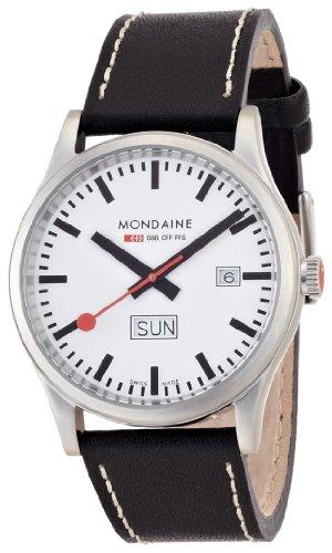 モンディーン 北欧 スイス 腕時計 メンズ Mondaine Men's A667.30308.16SBB Day Date Leather Band Watchモンディーン 北欧 スイス 腕時計 メンズ