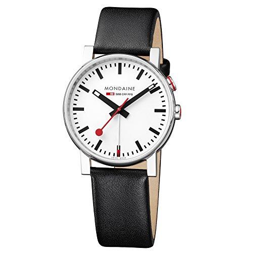 モンディーン 北欧 スイス 腕時計 メンズ Mondaine SBB Outdoor Wrist Watch Unisex (A4683035211SBB) Swiss Made, Railway Clock Design, Black Leather Strap and Silver Stainless Steel Caseモンディーン 北欧 スイス 腕時計 メンズ