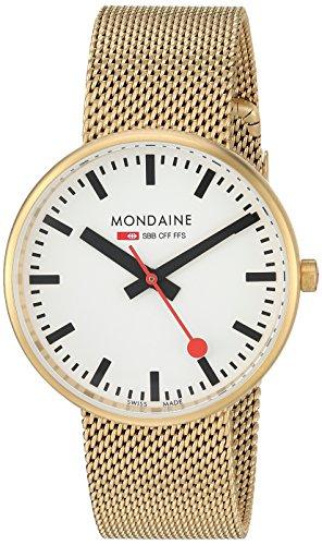 モンディーン 北欧 スイス 腕時計 メンズ 【送料無料】Mondaine SBB Elegant Wrist Watch (Model: A763.30362.21SBM) Gold-Plated-Stainless-Steel Strap, Railway Designed Faceモンディーン 北欧 スイス 腕時計 メンズ