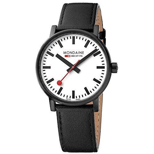 モンディーン 北欧 スイス 腕時計 メンズ 【送料無料】Mondaine SBB Wrist Watch for Men (MSE.40111.LB) Swiss Made, Railway Clock Design, Black Leather Strap, Black Stainless Steel Caseモンディーン 北欧 スイス 腕時計 メンズ