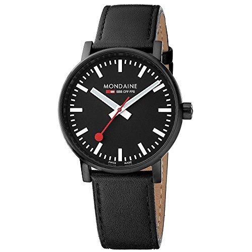 モンディーン 北欧 スイス 腕時計 メンズ Mondaine Men's SBB Stainless Steel Swiss-Quartz Watch with Leather Calfskin Strap, Black, 20 (Model: MSE.40121.LB)モンディーン 北欧 スイス 腕時計 メンズ