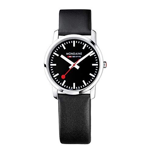 モンディーン 北欧 スイス 腕時計 レディース 【送料無料】Mondaine Women's SBB Stainless Steel Swiss-Quartz Watch with Leather Strap, Black (Model: A400.30351.14SBB)モンディーン 北欧 スイス 腕時計 レディース