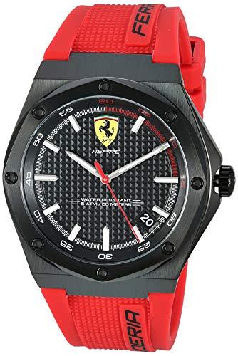 Aspire Men's 腕時計 26 0870030)腕時計 メンズ Steel (Model: Quartz 【送料無料】Ferrari フェラーリ Stainless with メンズ red, Silicone Strap, Watch フェラーリ