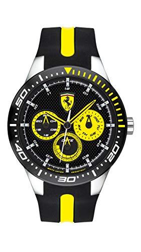 フェラーリ 腕時計 メンズ 【送料無料】Ferrari RedRev, Quartz Stainless Steel and Silicone Strap Casual Watch, Black, Men, 830585フェラーリ 腕時計 メンズ