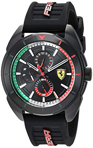 フェラーリ 腕時計 メンズ Ferrari Men's Forza Quartz Black IP and Silicone Strap Casual Watch, Color: Black (Model: 830577)フェラーリ 腕時計 メンズ