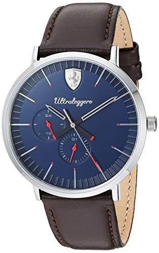 フェラーリ 腕時計 メンズ Scuderia Ferrari Men's Ultraleggero Stainless Steel Quartz Watch with Leather Strap, Brown, 20 (Model: 0830566)フェラーリ 腕時計 メンズ