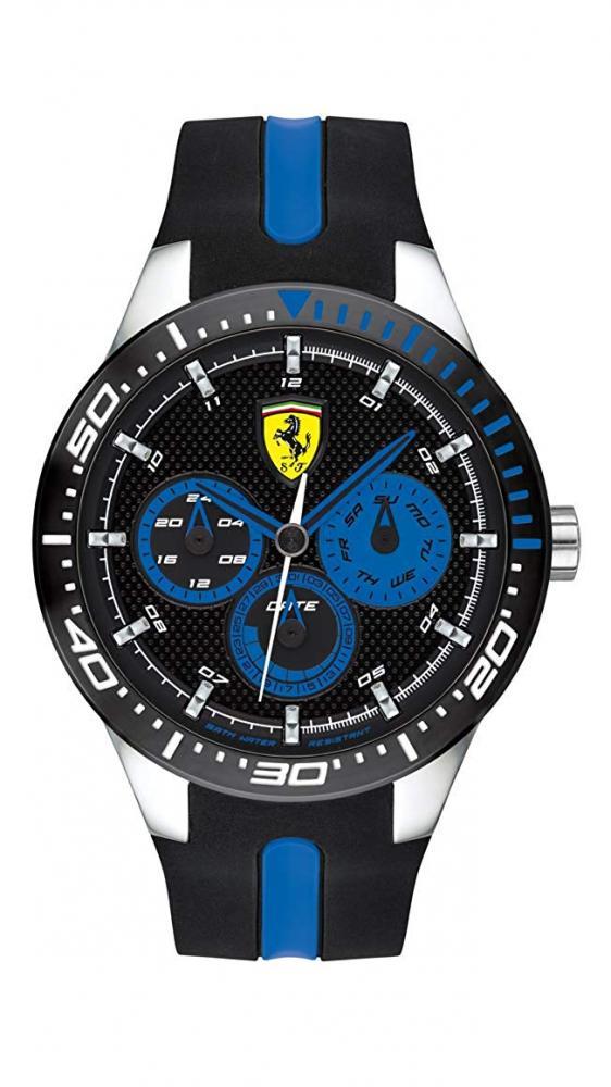 フェラーリ 腕時計 メンズ 【送料無料】Ferrari RedRev, Quartz Stainless Steel and Silicone Strap Casual Watch, Black, Men, 830587フェラーリ 腕時計 メンズ