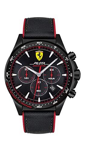 フェラーリ 腕時計 メンズ Ferrari Men's Pilota Quartz Black IP and Silicone Strap Casual Watch, Color: Black (Model: 830623)フェラーリ 腕時計 メンズ