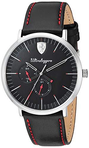 フェラーリ 腕時計 メンズ 【送料無料】Scuderia Ferrari Men's Ultraleggero Stainless Steel Quartz Watch with Leather Strap, Black, 20 (Model: 0830565)フェラーリ 腕時計 メンズ