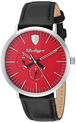 フェラーリ 腕時計 メンズ Scuderia Ferrari Men's Ultraleggero Stainless Steel Quartz Watch with Leather Strap, Black, 20 (Model: 0830567)フェラーリ 腕時計 メンズ