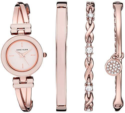 アンクライン 腕時計 レディース Anne Klein Women's AK/3284LPST Blush Pink and Rose Gold-Tone Bangle Watch and Swarovski Crystal Accented Bracelet Setアンクライン 腕時計 レディース