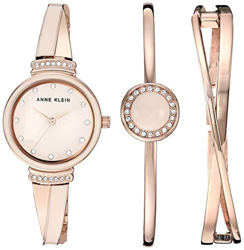 アンクライン 腕時計 レディース 【送料無料】Anne Klein Women's AK/3292LPST Swarovski Crystal Accented Rose Gold-Tone and Blush Pink Watch and Bangle Setアンクライン 腕時計 レディース