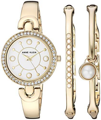 アンクライン 腕時計 レディース Anne Klein Women's AK/3288GBST Swarovski Crystal Accented Gold-Tone Watch and Bangle Setアンクライン 腕時計 レディース