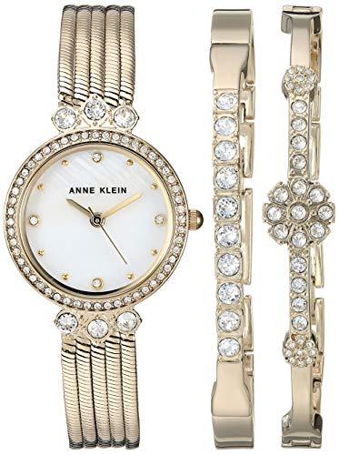 アンクライン 腕時計 レディース Anne Klein Women's AK/3202GBST Swarovski Crystal Accented Gold-Tone Chain Bracelet Watch and Bangle Setアンクライン 腕時計 レディース