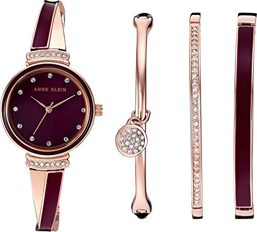 アンクライン 腕時計 レディース 【送料無料】Anne Klein Women's AK/2716RBST Swarovski Crystal Accented Rose Gold-Tone and Burgundy Watch and Bangle Setアンクライン 腕時計 レディース