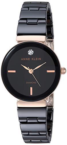 アンクライン 腕時計 レディース Anne Klein Women's AK/3392BKRG Diamond-Accented Rose Gold-Tone and Black Ceramic Bracelet Watchアンクライン 腕時計 レディース