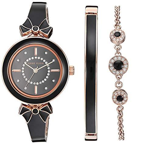 アンクライン 腕時計 レディース Anne Klein Women's AK/3338BKST Swarovski Crystal Accented Rose Gold-Tone and Black Bangle Watch with Bracelet Setアンクライン 腕時計 レディース