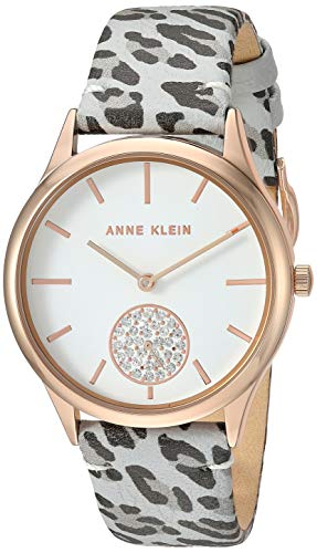 アンクライン 腕時計 レディース Anne Klein Women's AK/3324GYLE Swarovski Crystal Accented Rose Gold-Tone and Grey Leopard Patterned Leather Strap Watchアンクライン 腕時計 レディース