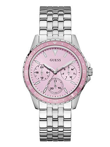 ゲス GUESS 腕時計 レディース GUESS Stainless Steel + Pink Bracelet Watch with Day, Date + 24 Hour Military/Int'l Time. Color: Silver-Tone (Model: U1187L2)ゲス GUESS 腕時計 レディース
