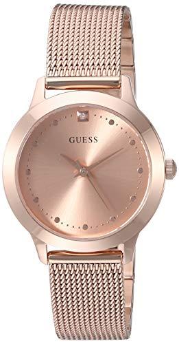 ゲス GUESS 腕時計 レディース GUES Rose Gold-Tone Stainless Steel Bracelet Watch with Black Genuine Diamond Dial. Color: Gold-Tone (Model: U1197L6)ゲス GUESS 腕時計 レディース