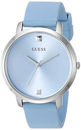 ゲス GUESS 腕時計 レディース 【送料無料】GUESS Comfortable Silver-Tone + Sky Blue Stain Resistant Silicone Watch with Genuine Diamond Accents. Color: Sky Blue (Model: U1210L4)ゲス GUESS 腕時計 レディース