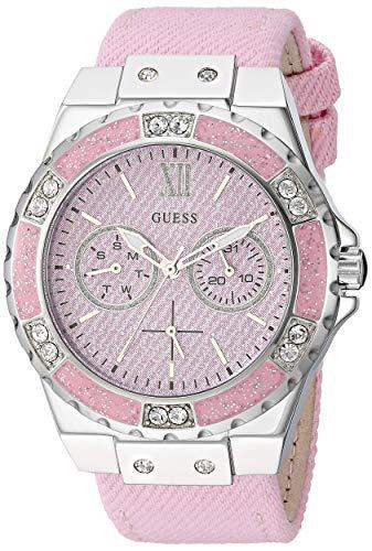 ゲス GUESS 腕時計 レディース GUESS Stainles Steel + Pink Denim Leather Watch with Day + Date Functions. Color: Pink (Model: U0775L15)ゲス GUESS 腕時計 レディース