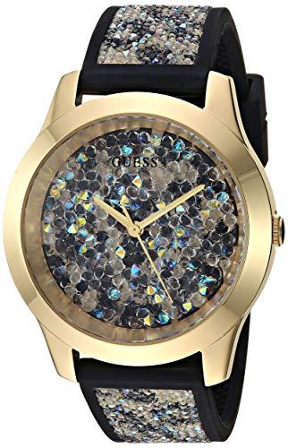 ゲス GUESS 腕時計 レディース Women's Black Animal Print Silicone Watch Embellished with Crystals from Swarovski 42 MMゲス GUESS 腕時計 レディース