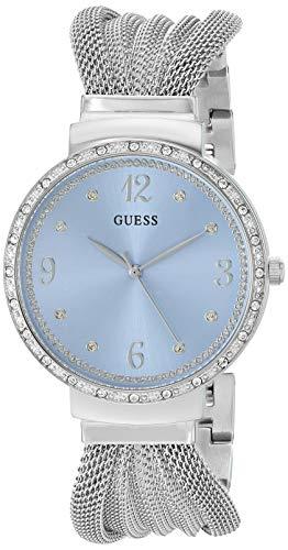 ゲス GUESS 腕時計 レディース GUESS Crystal Accented Stainless Steel Mesh Bracelet Watch with Sky Blue Dial. Color: Silver-Tone (Model: U1083L4)ゲス GUESS 腕時計 レディース