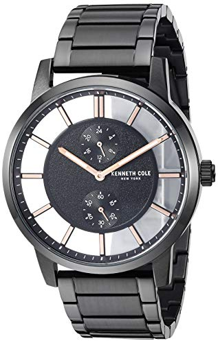 腕時計 ケネスコール・ニューヨーク Kenneth Cole New York メンズ 【送料無料】Kenneth Cole New York Men's Transparency Japanese-Quartz Stainless-Steel Strap, Black, 21.7 Casual Watch (腕時計 ケネスコール・ニューヨーク Kenneth Cole New York メンズ