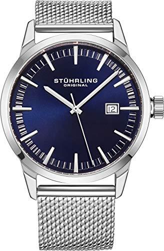 腕時計 ストゥーリングオリジナル メンズ 【送料無料】Stuhrling Original Mens Watch Mesh Band - Dress + Casual Design - Analog Watch Dial with Date, 555 Watches for Men Collection (Blue)腕時計 ストゥーリングオリジナル メンズ