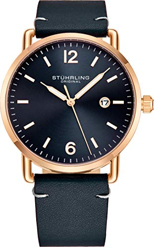 ストゥーリングオリジナル 腕時計 メンズ Stuhrling Original Blue Leather Watch Rose Gold Plated Case with Blue Dial - Vintage Style 38mm Case with Date - 3901 Mens Watches Collectionストゥーリングオリジナル 腕時計 メンズ