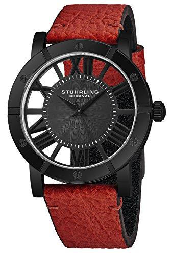 腕時計 ストゥーリングオリジナル メンズ 【送料無料】Stuhrling Original Black PVD Mens Watch Red Leather Strap - Swiss Quartz Ronda Mvmt - Black Dial Sports Watch - 881 Watches for Men Collection腕時計 ストゥーリングオリジナル メンズ