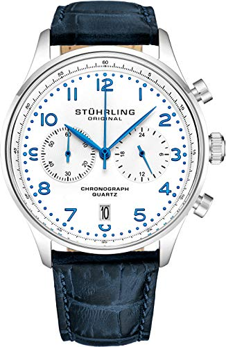 ストゥーリングオリジナル 腕時計 メンズ 【送料無料】Stuhrling Original Mens Quartz Chronograph Dress Watch - Stainless Steel Case and Blue Leather Band - White Analog Dial with Date GR1-Q Mens Watches Colleストゥーリングオリジナル 腕時計 メンズ